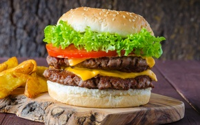 Картинка meat, tomatoes, салат, фастфуд, fast food, сэндвич, hamburger, помидор, гамбургер, котлета, булочка