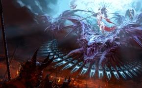 Картинка ангелы, монстры, битва, демоны, и зла, добра