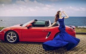 Картинка море, машина, авто, девушка, поза, стиль, Porsche, фигура, платье, кабриолет, азиатка, набережная