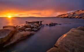 Картинка море, закат, скалы