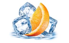 Картинка лед, апельсин, цитрус