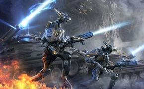 Картинка оружие, огонь, Роботы, танки, выстрелы
