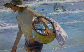 Обои море, картина, жанровая, дети, Хоакин Соролья, Рыбак