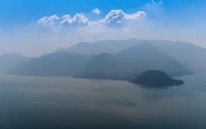 Картинка горы, озеро, Италия, дымка, Комо