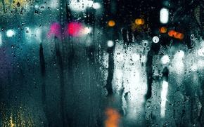 Картинка мокро, стекло, капли, макро, свет, город, блики, дождь, боке