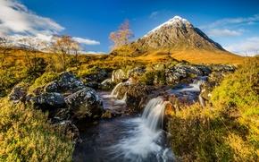 Картинка осень, река, гора, поток, утро, Шотландия