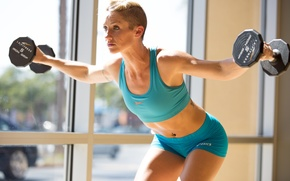 Картинка woman, blonde, fitness, exercises