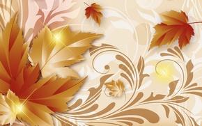 Картинка осень, листья, фон, арт, золотая осень