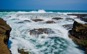Картинка камни, побережье, Индонезия, прибой, Индийский океан, Ява, Indonesia, Indian Ocean, Sawarna Beach, West Java