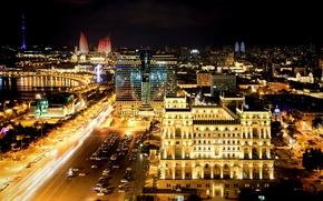 Картинка ночь, night, Азербайджан, Azerbaijan, Baku, Баку