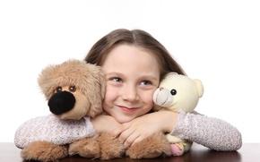 Обои радость, счастье, дети, улыбка, игрушки, ребенок, куклы, Мишка, милый, smile, toys, child, teddy bear, puppet, ...