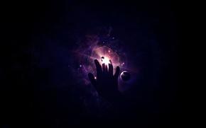 Обои планета, рука, свет