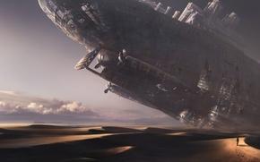 Картинка небо, облака, следы, пустыня, человек, корабль, The ship of the desert