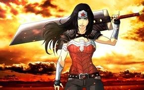 Картинка меч, wonder woman, fan art, DC Comics, чудо-женщина