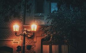 Обои cityscape, house, light, urban scene, lamp post, street