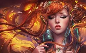 Картинка девушка, украшения, эльф, арт, рыжая, эльфийка, уши, sakimichan