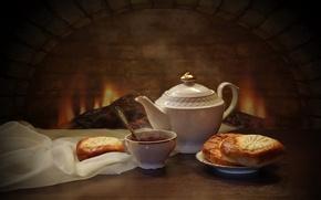 Обои чайник, ватрушки, очаг, чай