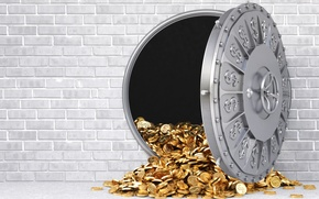 Картинка wall, money, gray, gold, reinforced door, wealth