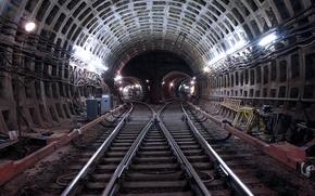Обои Рельсы, Шпалы, Подземка, Москва, Метро, Тунель