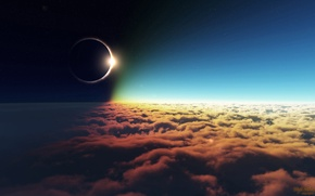 Картинка солнце, облака, затмение