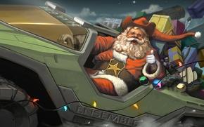 """Обои подарки, Halo Wars, Age of Empires 3, M12 """"Вепрь"""", Рождество, Halo, Санта Клаус"""