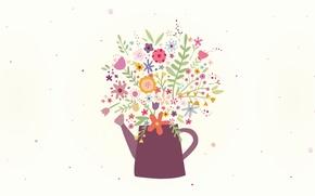 Обои цветы, Design, Veronica Valenzuela, лейка, рисунок, букет, май