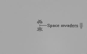 Обои минимализм, космический захватчик, ретро, старое, Space invaders, игры, 8-bit