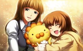 Картинка девушка, радость, эмоции, игрушка, лев, девочка, искорки, umineko no naku koro ni, ushiromiya maria, ushiromiya …
