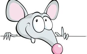 Картинка мышка, белый фон