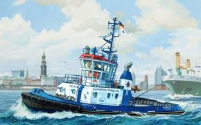 """Картинка art, painting, ship, boat, Harbour Tug Boat """"Fairplay"""""""