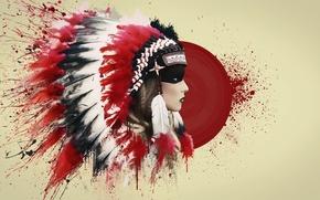 Картинка кровь, перья, art, индеец, роуч