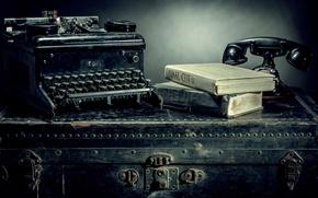 Картинка книги, телефон, Vintage, пишущая машинка, Still Life