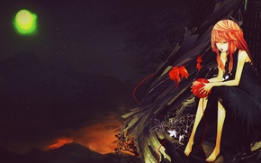 Картинка девушка, чёрный, аниме, корона, платье, арт, anime, art, Inori Yuzuriha, Guilty Crown
