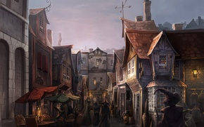 Картинка свет, улица, окна, дома, вечер, свечи, Гарри Поттер, Harry Potter, волшебники, фан-арт, диагон аллея, Diagon …