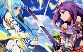 Картинка sword, game, anime, pretty, asian, manga, pretty girl, japanese, Yuuki Asuna, Sword Art Online, oriental, …