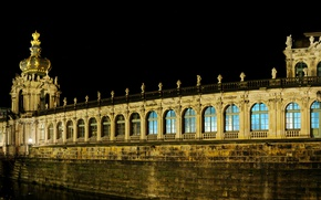 Картинка ночь, мост, огни, Германия, Дрезден, фонари, канал, архитектура, дворец, Zwinger, Цвингер