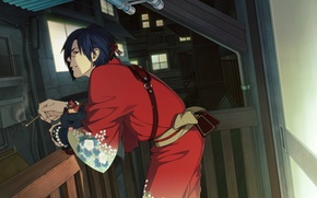 Картинка вечер, сигарета, балкон, кимоно, собачка, шрам, свет в окнах, Koujaku, Ren, Драматическое убийство, Dramatical murder, …