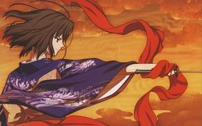 Картинка катана, шарф, кимоно, kara no kyoukai, сад грешников, the garden of sinners, shiki ryougi