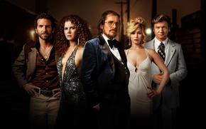 Картинка Bradley Cooper, Jennifer Lawrence, Jeremy Renner, Christian Bale, Amy Adams, American Hustle, Афера по американски