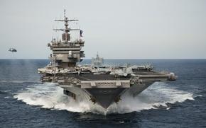 Картинка море, волны, авианосец, USS Enterprise, (CVN-65)