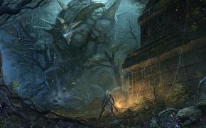 Картинка лес, оружие, человек, меч, существо, фэнтези, арт, гигант, руины, голем, chaoyuanxu