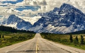 Обои дорога, горы, пейзаж, альберта, канада