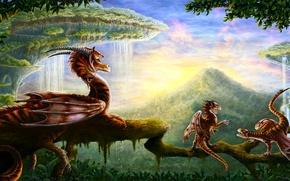 Картинка небо, дерево, дракон, гора, малыши, дракончики
