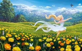 Картинка поле, небо, девушка, облака, деревья, цветы, горы, настроение, скалы, птичка
