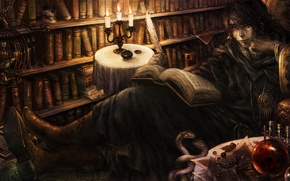 Обои book, candles, books, feather, library, poet, dragon crown