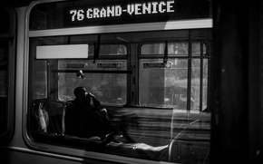 Картинка Wallpaper, Photo, Man, Rinzi Ruiz, Black & White, Subway Cars