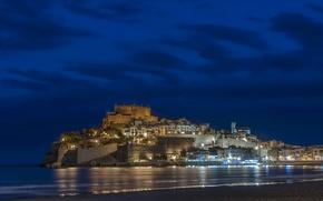 Картинка ночь, дома, City, Испания, Spain, замок.