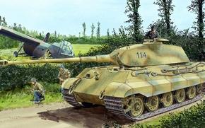 Картинка рисунок, солдаты, немцы, Königstiger, Panzerkampfwagen VI Ausf. B, Тигр II, Короле́вский тигр, glider