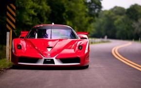 Картинка дорога, красный, Феррари, Ferrari, суперкар, передок, FXX, Evoluzione