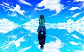 Картинка небо, вода, облака, отражение, аниме, арт, парень, tokyo ghoul, kaneki ken, winni